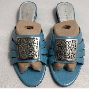 Tahari turquoise and silver slide sandals 9
